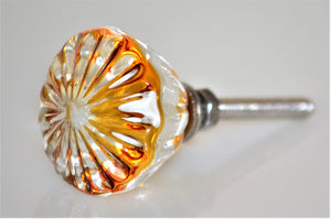Amber and Clear Glass Knob - Daisy