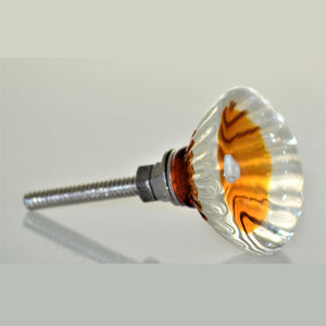 Amber and Clear Glass Knob - Buttercup