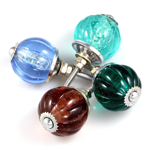 Handcrafted Glass Crystal Ribbed cabinet Knob - Blue