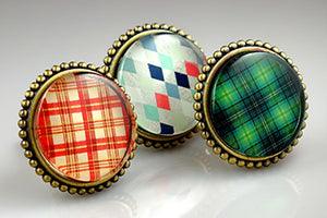 Brass knob with Glass Inlay Green Tartan