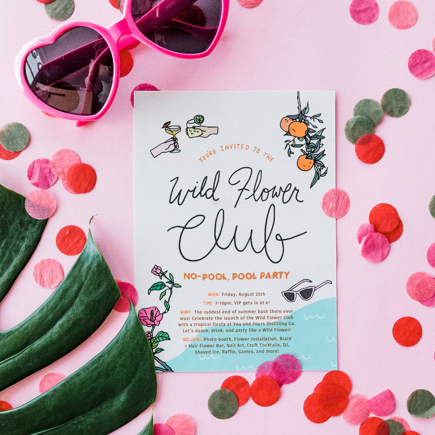 "<h3 style=""color:#fff;"">Join us for our first Wild Flower Club No-Pool, Pool Party!</h3>"