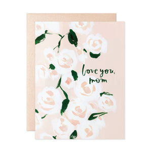 Love you mom card with pink illustrated roses