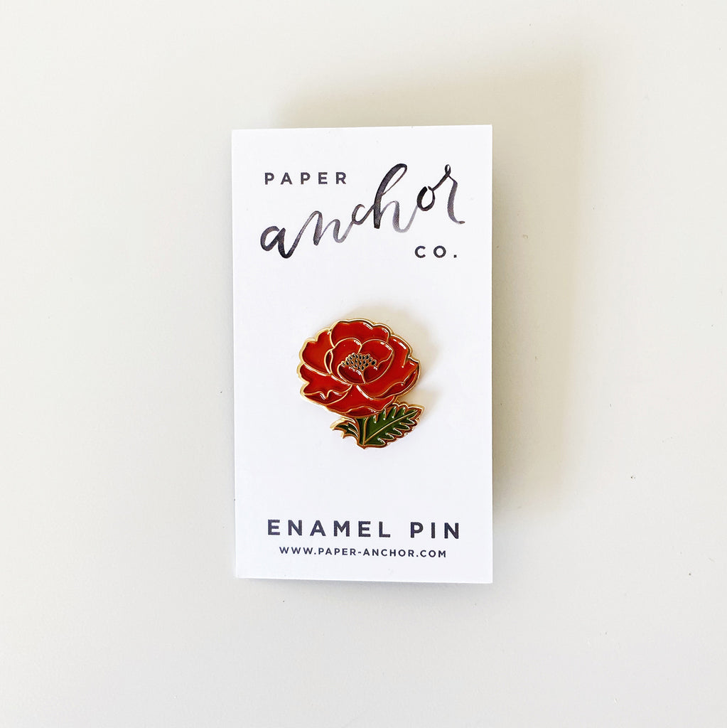 Paper Anchor Co. enamel pin - Red Poppy