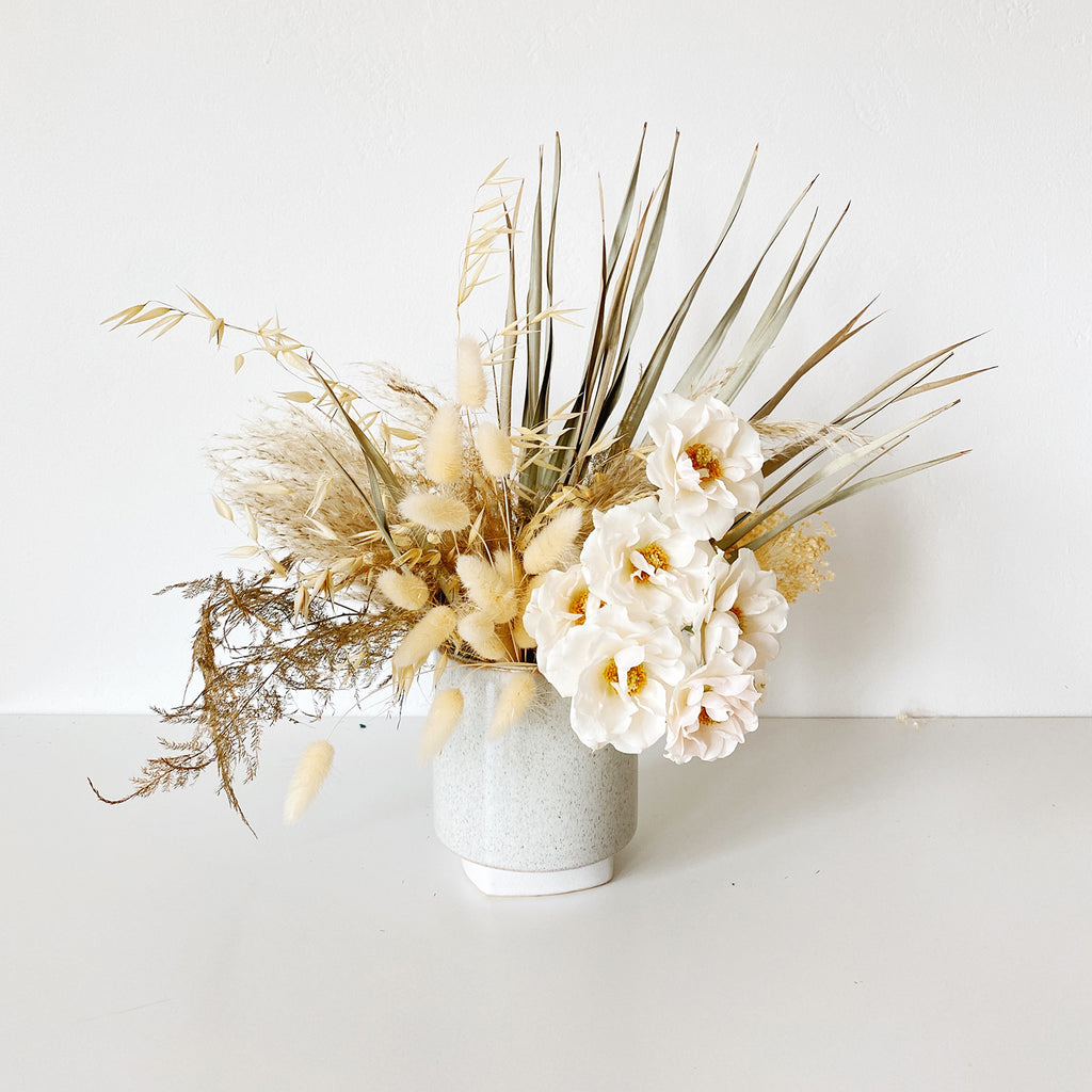 Speckled Grey Ceramic Vase displaying dried flowers
