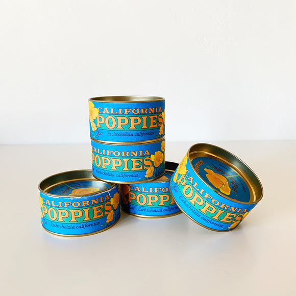 California Poppy Seed Kits in blue can packaging