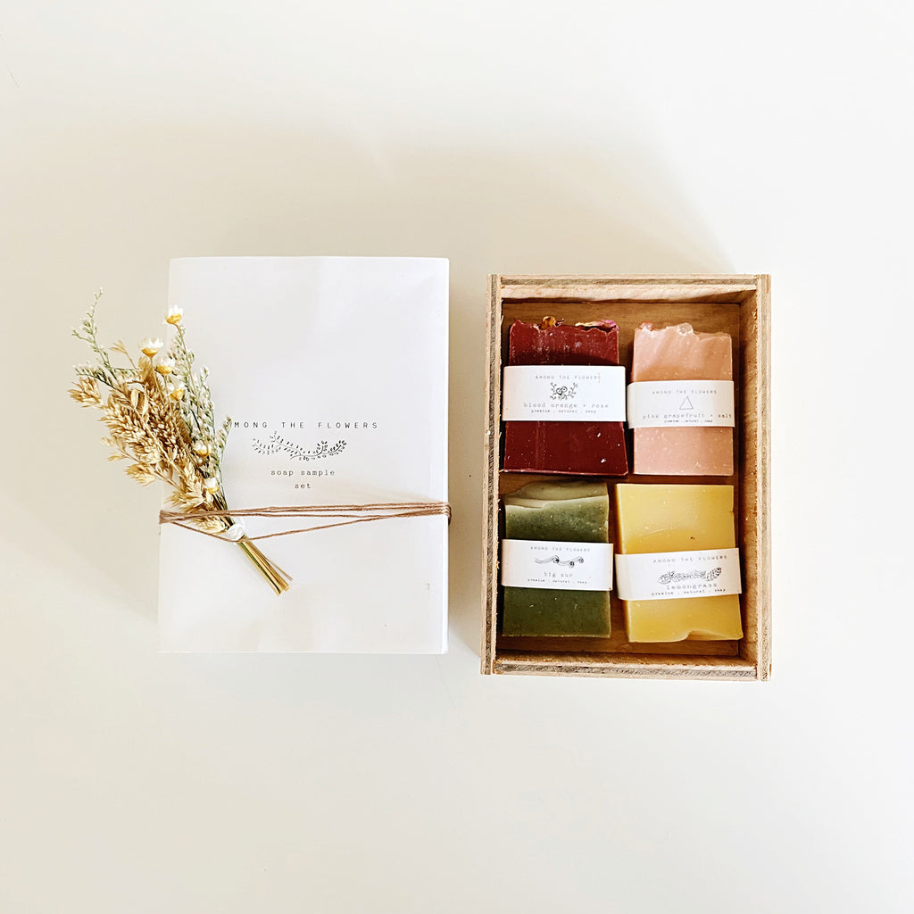 Among the Flowers Soap Sampler Set in wooden gift box