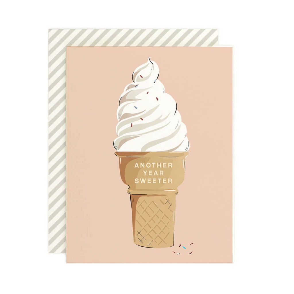 Another Year Sweeter Card - illustrated soft serve ice cream cone