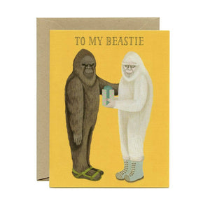 """To my beastie"" greeting card - illustrated bigfoot/yeti pair"