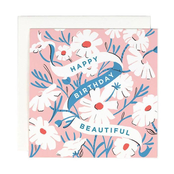Happy Birthday Beautiful Card with white daisies