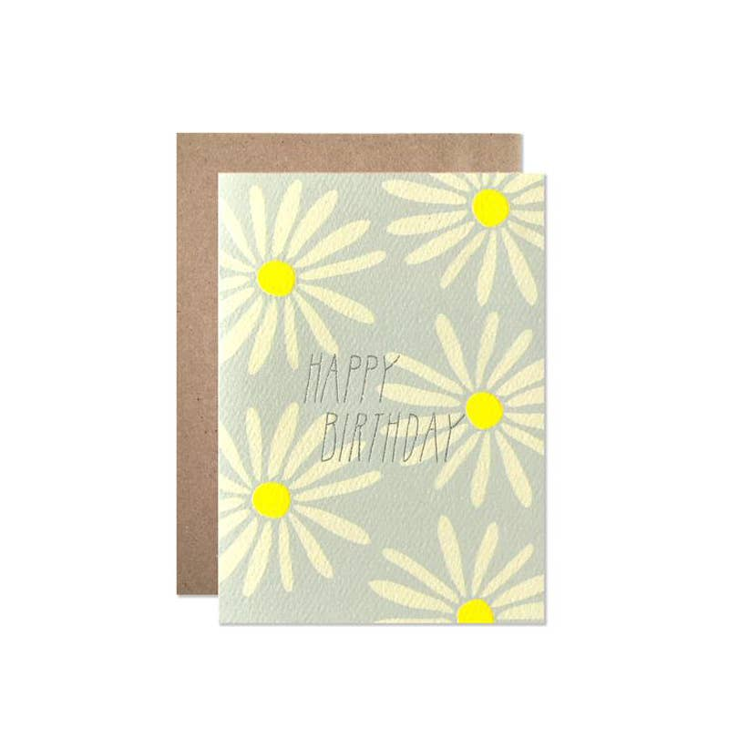 Yellow Birthday Daisies With Silver Glitter Foil Card