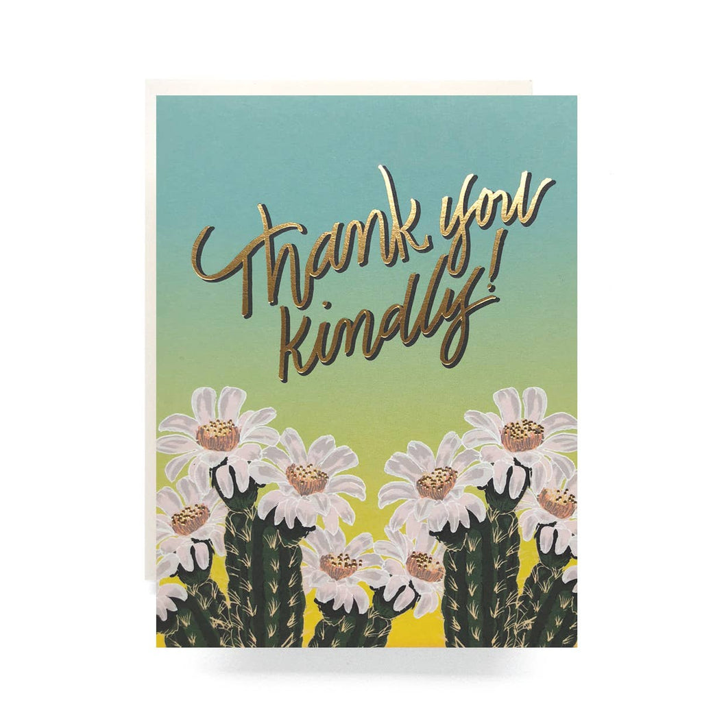 Thank you Kindly Card - white cacti blooms with blue green ombre background