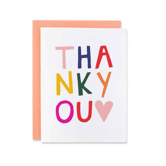 Colorful thank you card with rainbow block letters and a pink heart