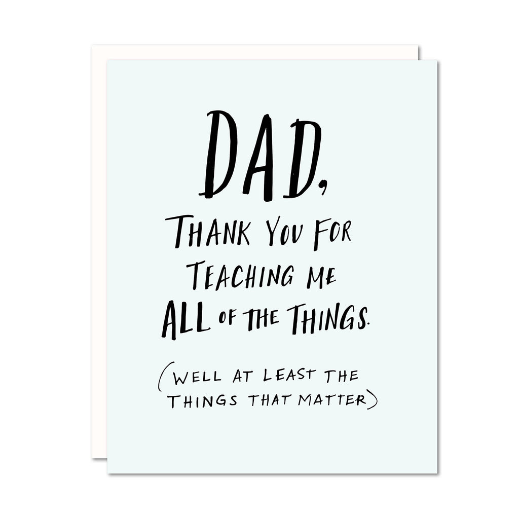 Dad Thank You For Teaching Me Card | Odd Daughter