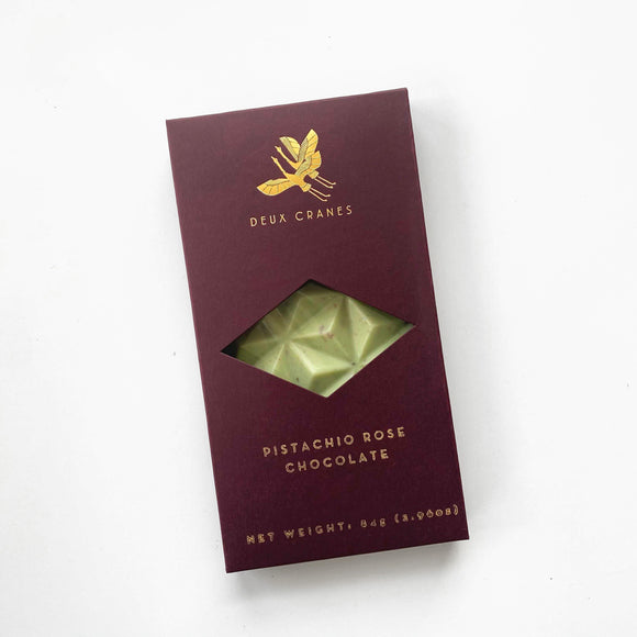 Pistachio Rose Chocolate Bar from Deux Cranes
