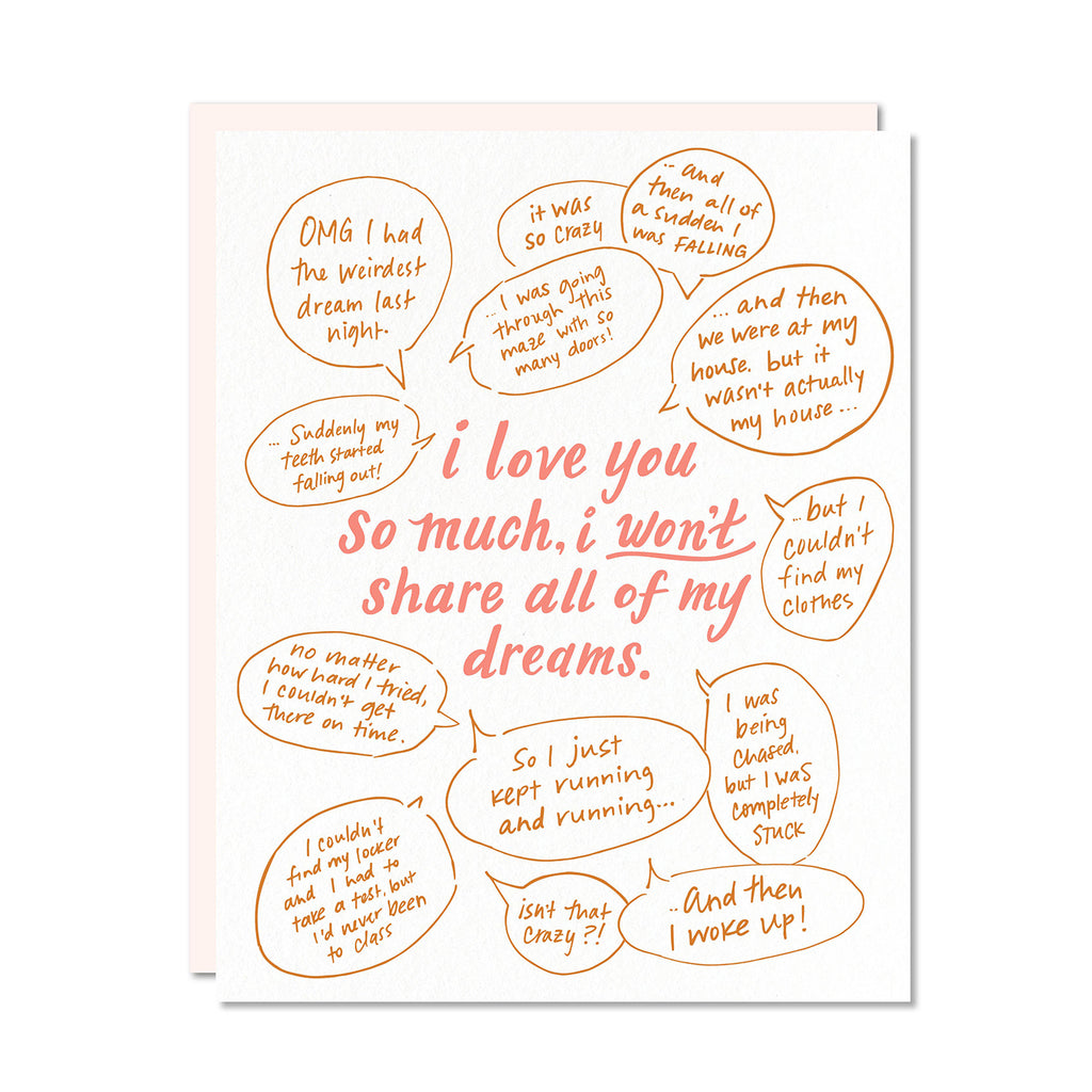 I Love You So Much I Won't Share All Of My Dreams Card | Odd Daughter