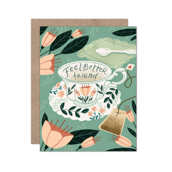 Illustrated floral teacup card - feel better friend