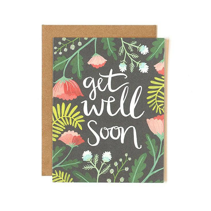 Get Well Soon multicolored Floral Card from One Canoe Two