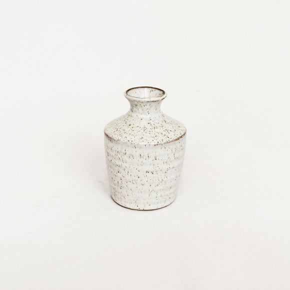 Hari Bud Vase - small white speckled ceramic vase