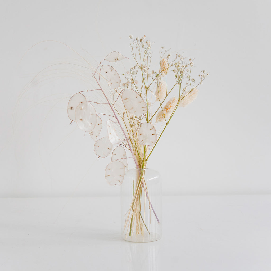 Holiday Bud Vase arrangement with white dried flowers