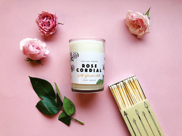 Rose Cordial Candle & Matches