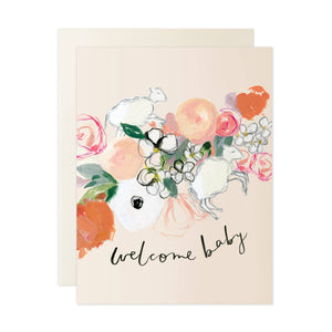 Welcome Baby Card - pink florals with two illustrated lambs