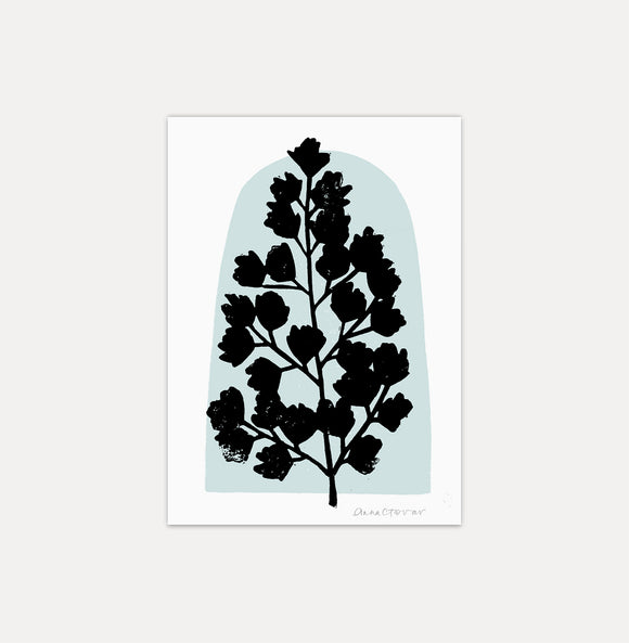 Maidenhair Fern art print by Anna Tovar - black block printed fern on light blue dome shape