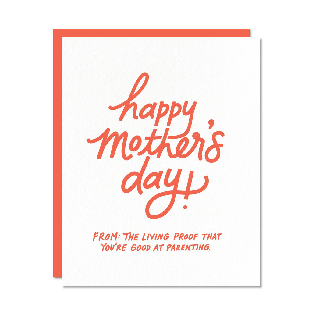 Happy Mother's Day Card - red text on white card