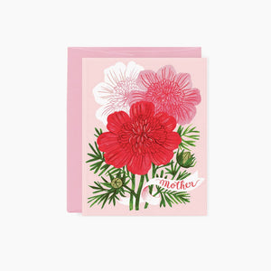 trio of red, pink, and white cosmos - Mother card