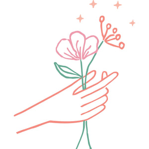 Native Poppy logo element - Illustrated hand holds pink and peach blooms