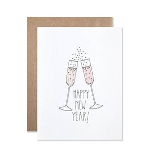 Happy new year card - pink bubbly champagne flutes