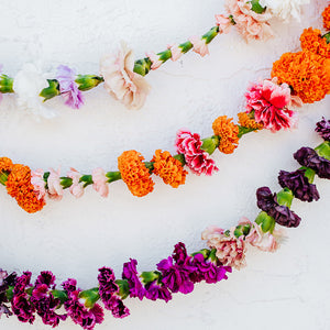 Carnation garlands in multiple colors