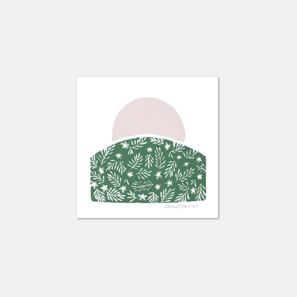 Sun Print Hill by Anna Tovar - pink and green block print