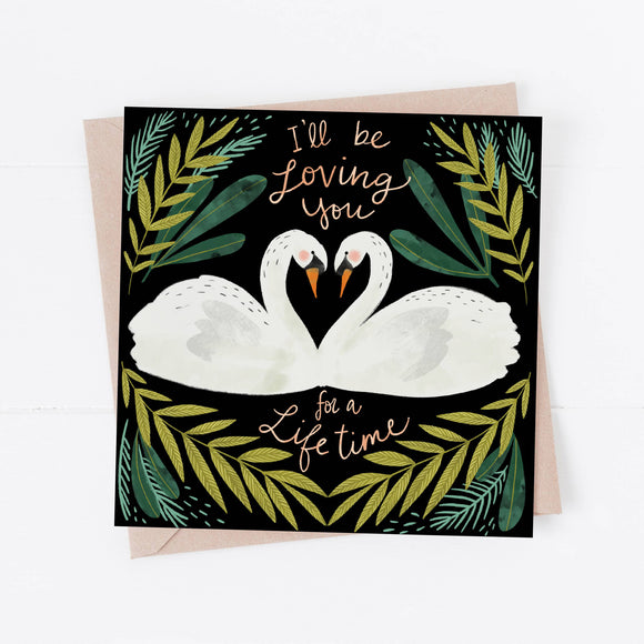 Swan Love Card - two swans with script