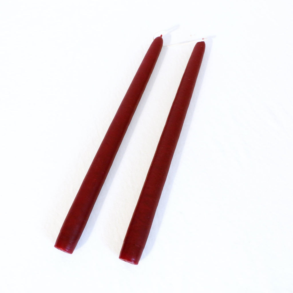 Burgundy red taper candles - pair of two taper candles