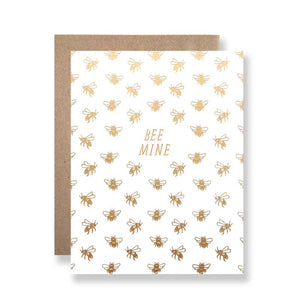 "Bee Mine Card - metallic gold bees on white card with phrase ""Bee Mine"""