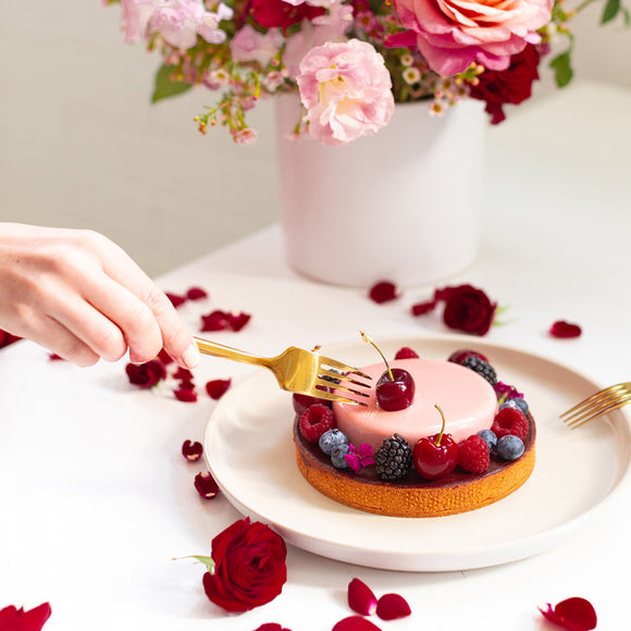 Valentine's Day berry tart made by Bonjour Patisserie for Native Poppy