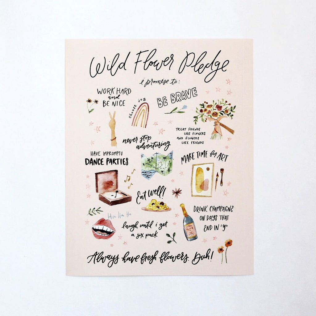 Wild Flower Pledge Print from Native Poppy surrounded by flower petals