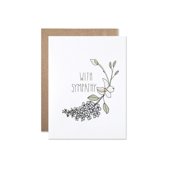With Sympathy Card - illustrated pastel lilacs