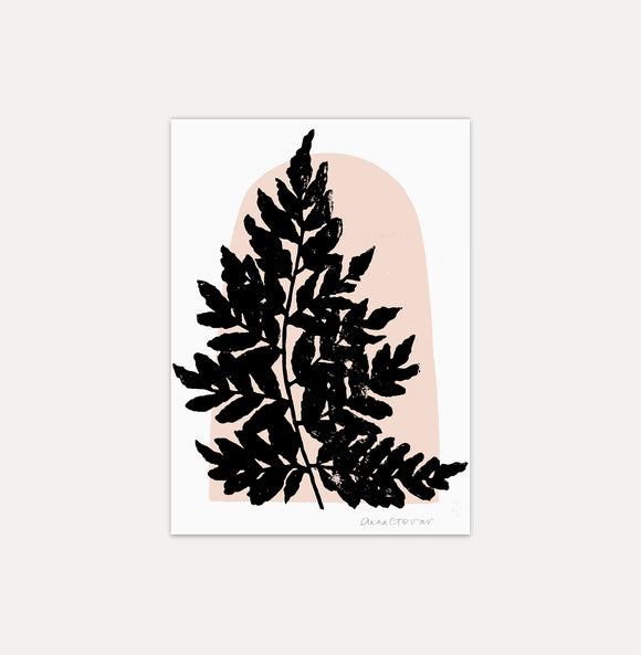 Wood Fern Print by Anna Tovar - black block print fern leaf with peach pink shape