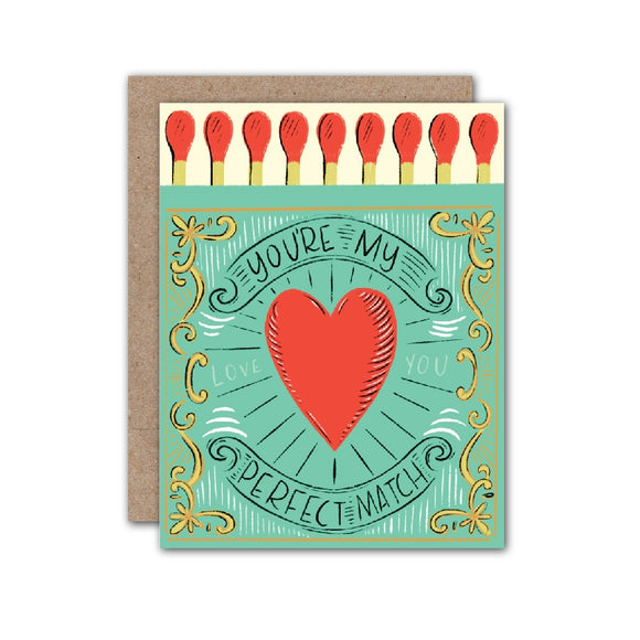 Pale green match box illustration with message