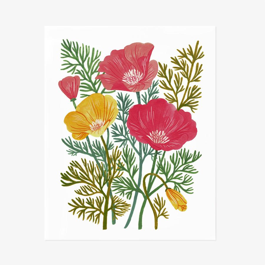 Orange and red blooms - California Poppy Art Print by Oana Befort