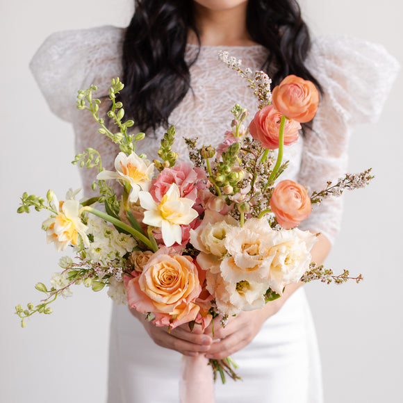 Pink and peach floral bridal bouquet from Native Poppy