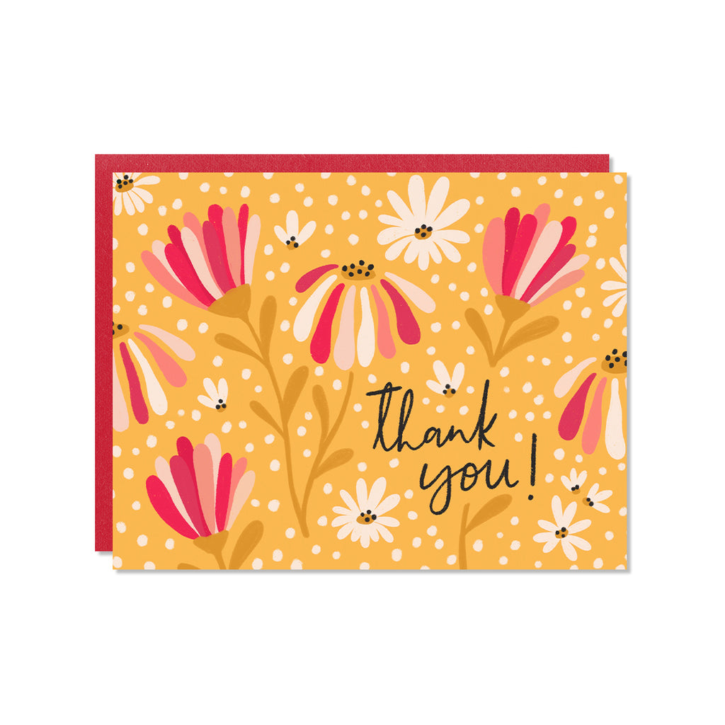 Yellow and pink daisy illustration thank you card