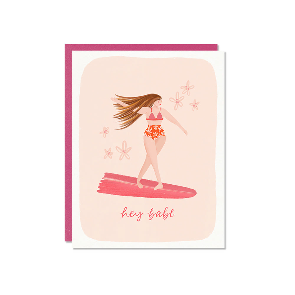 Hey Babe Card -  illustration of a woman wearing pink on a surf board