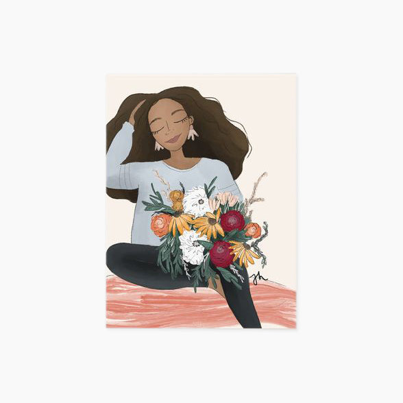 Dwell in bloom print - illustration of black woman holding floral bouquet