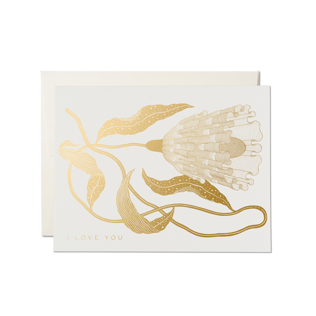 Gold Exotic Flower Card from Red Cap Cards