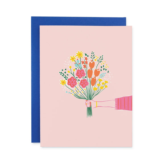 For You Bouquet Card from Black Lamb Studio - hand holding multicolored flowers on pink background