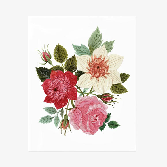 Three watercolored blooms in red, pink, and ivory- Garden Flora Art Print by Oana Befort