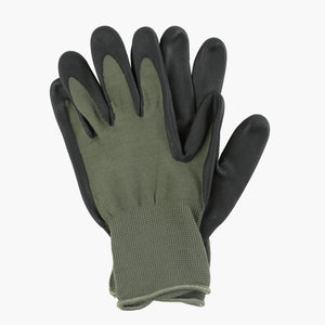 Moss green garden gloves with rubber nitrile palm
