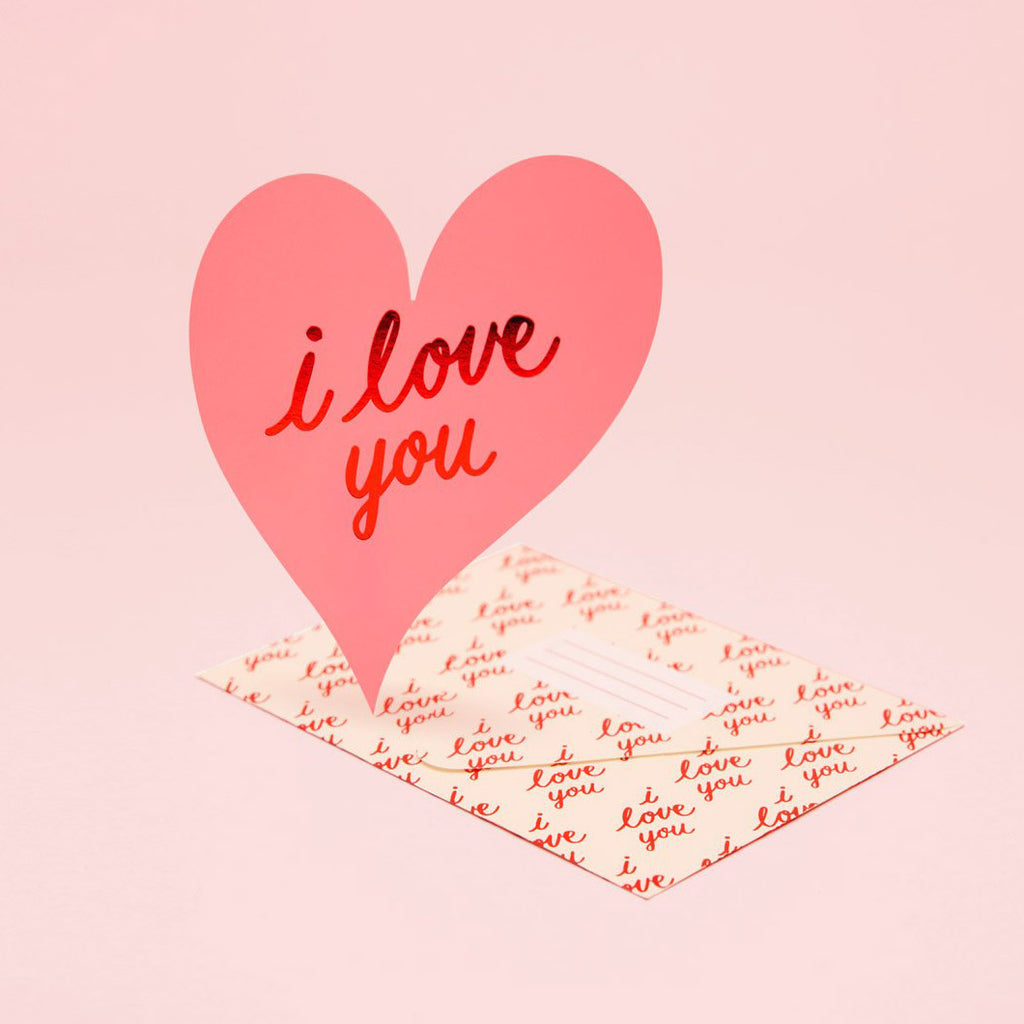 I Love You Heart Card - pink die cut heart shaped greeting card